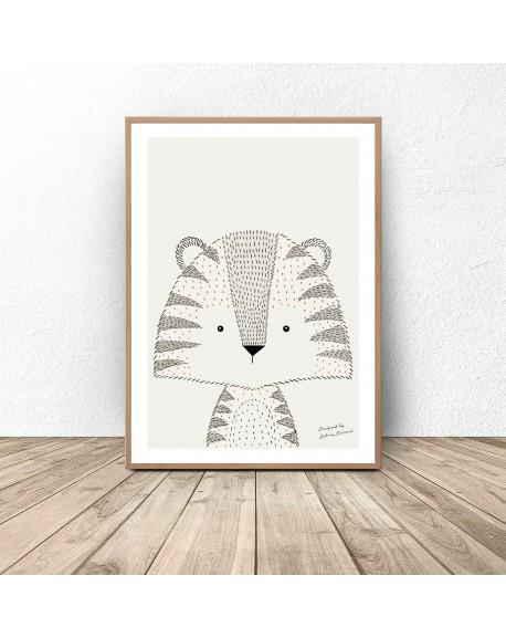 Plakat autorski z tygryskiem