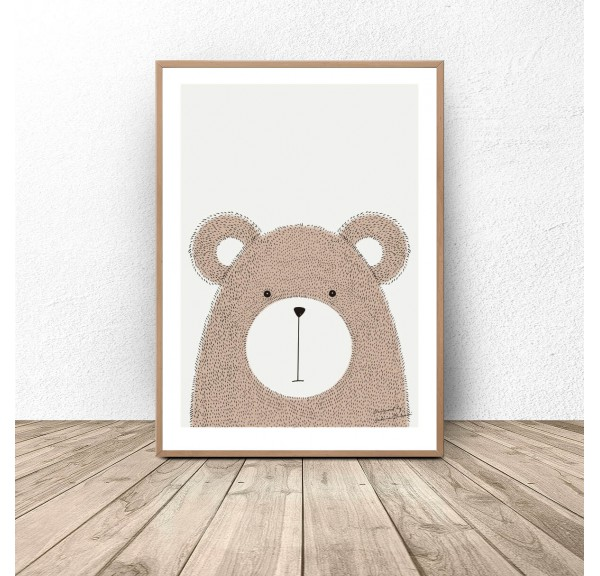 Author's poster with teddy bear