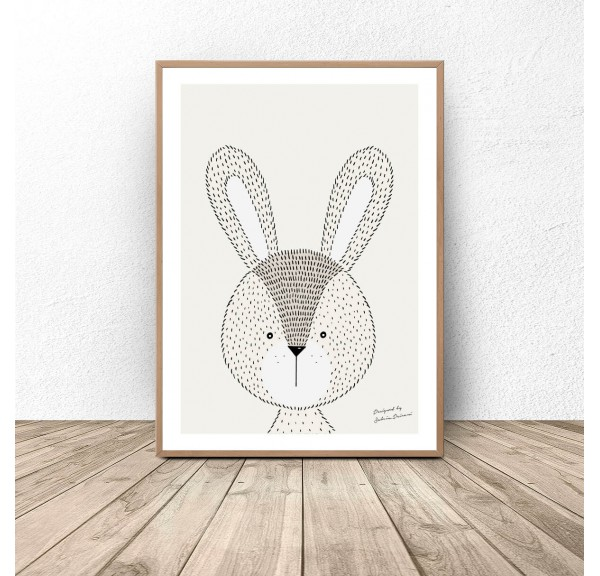 Author's poster with bunnies