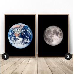 """Zestaw dwóch plakatów """"Ziemia i księżyc"""""""