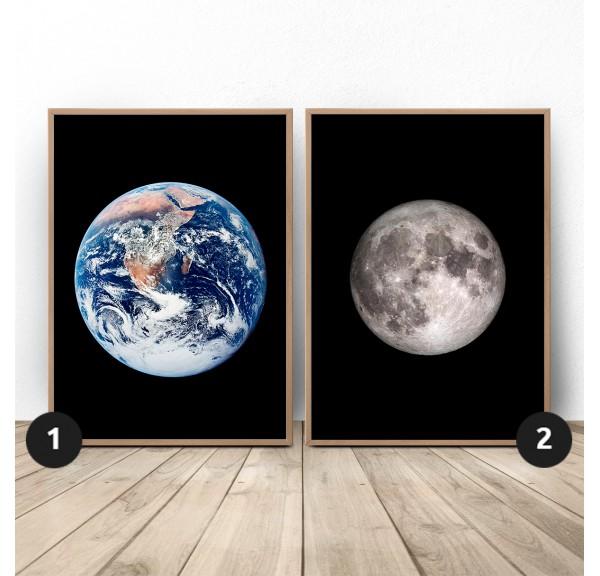 Zestaw dwóch plakatów Ziemia i księżyc