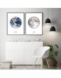Zestaw dwóch białych plakatów Ziemia i księżyc 2
