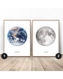 Zestaw dwóch białych plakatów Ziemia i księżyc