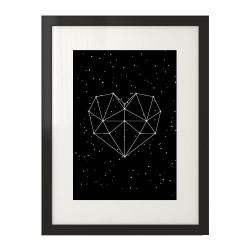 Czarny plakat z sercem utworzonym z gwiazd kosmosu