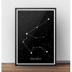 Plakat ze znakiem zodiaku i gwiazdozbiorem Wodnik z podpisem w języku łacińskim Aquarius