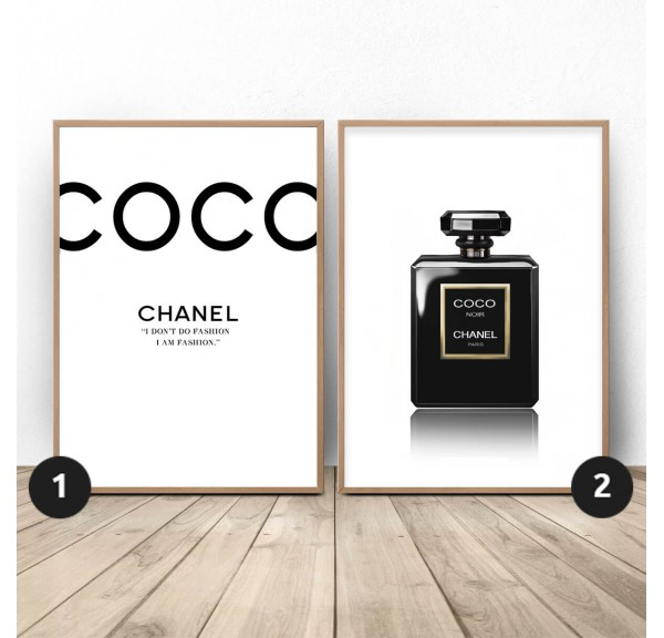 Set of two posters Black Chanel