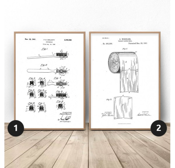 Set of two posters for the bathroom Brush and paper