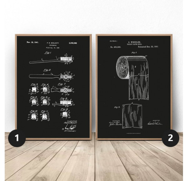 Set of two black posters for toilet Toothbrush and paper