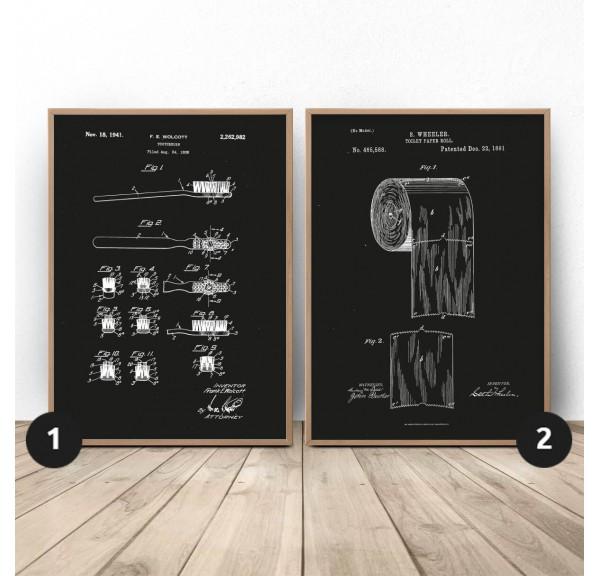 Zestaw dwóch czarnych plakatów do WC Szczoteczka i papier
