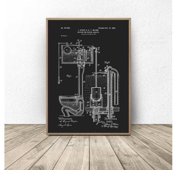 Black poster for bathroom and toilet Toilet