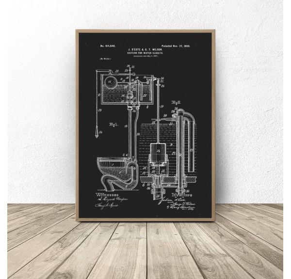 Czarny plakat do łazienki i wc Toaleta