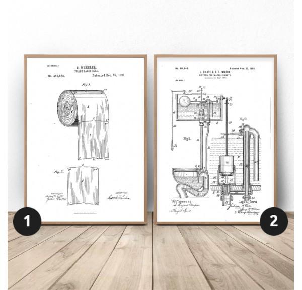 Zestaw dwóch plakatów do WC Toaleta i papier