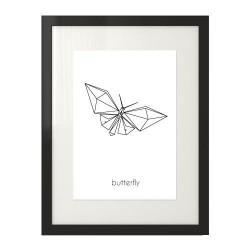 Plakat na ścianę przedstawiający grafikę motyla i napis butterfly