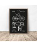 Czarny plakat Konstrukcja roweru