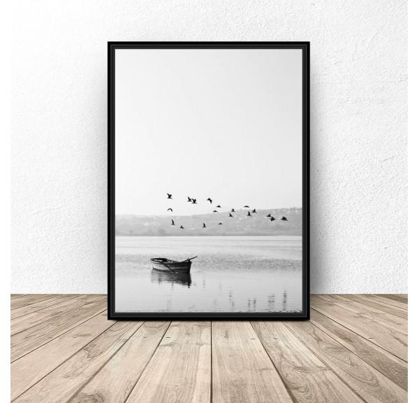 Plakat nowoczesny Ptaki nad łódką