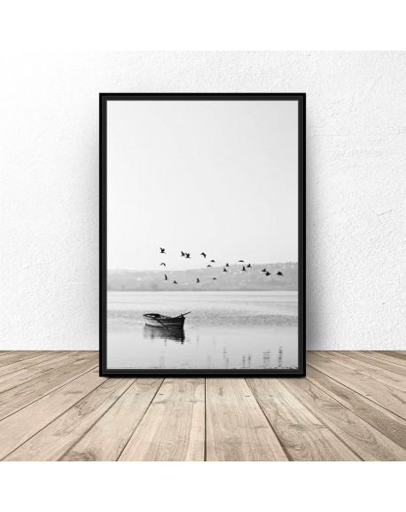 """Plakat nowoczesny """"Ptaki nad łódką"""""""
