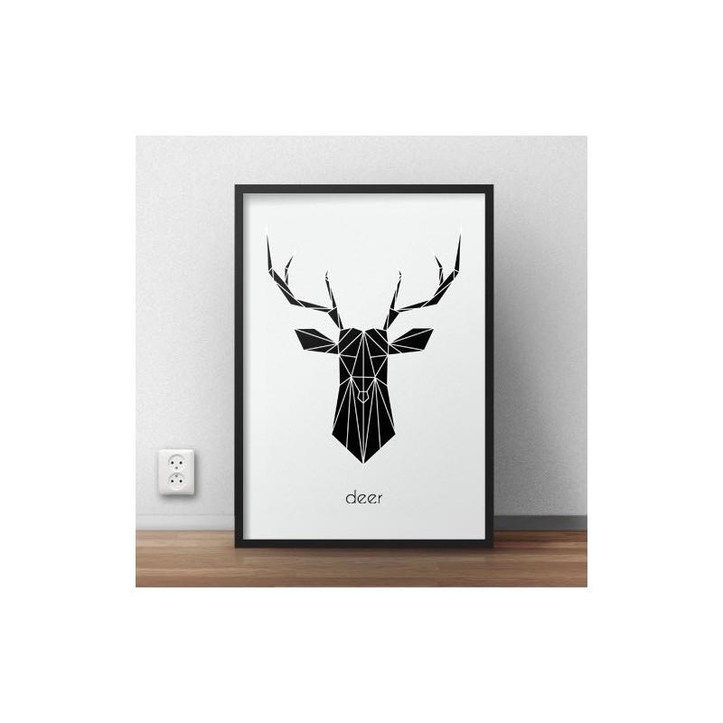 Plakat z czarnym jeleniem Deer - wyprzedaż