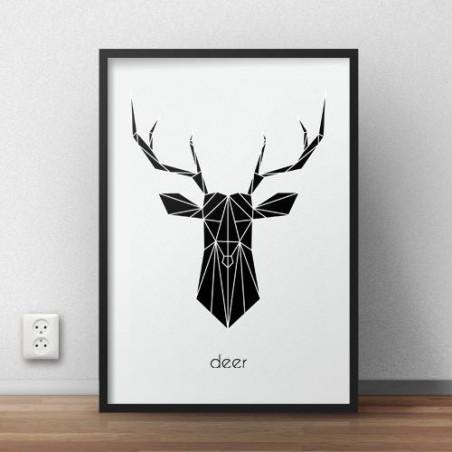 """Plakat z czarnym jeleniem """"Deer"""" - wyprzedaż"""