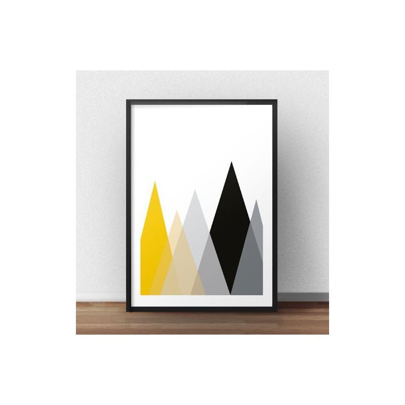 Skandynawski plakat geometryczny Góry rozm. 40x50