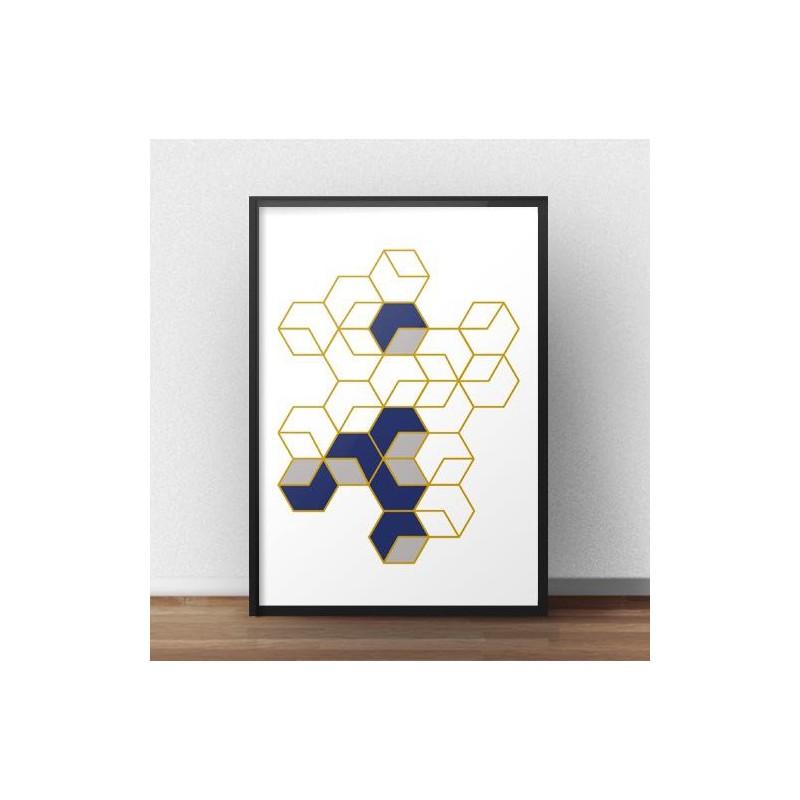 Geometric poster Honeycombs rozm. 40x50