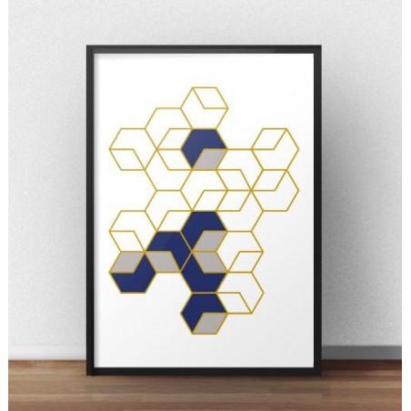 """Plakat geometryczny """"Plastry miodu"""" rozm. 40x50"""