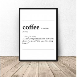 """Plakat z napisem definicji słowa """"Coffee"""""""