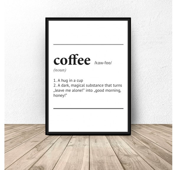 Poster with the definition of the word Coffee