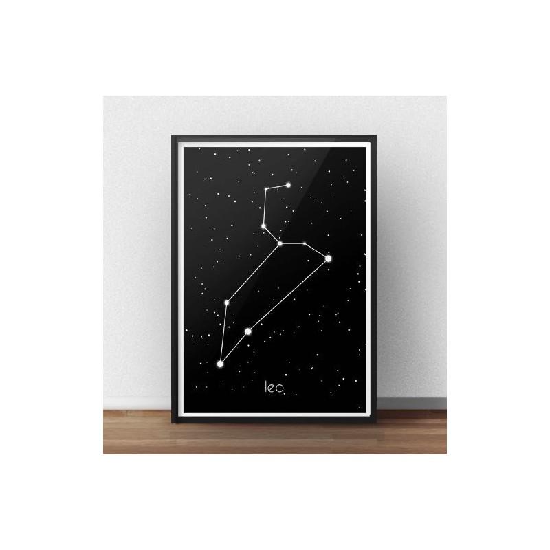 Plakat ze znakiem zodiaku i gwiazdozbiorem Lwa z podpisem po łacinie