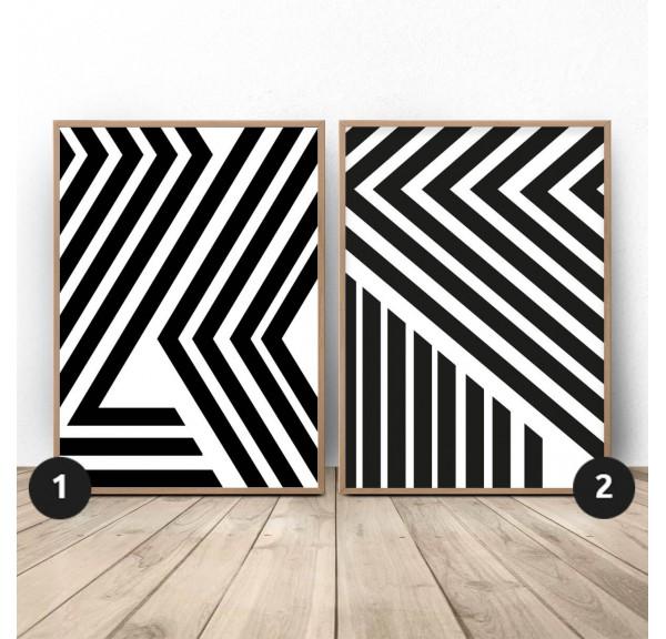 Zestaw dwóch plakatów abstrakcyjnych Pasy