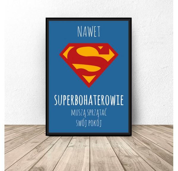 Plakat motywacyjny dla dziecka Superbohaterowie sprzątają