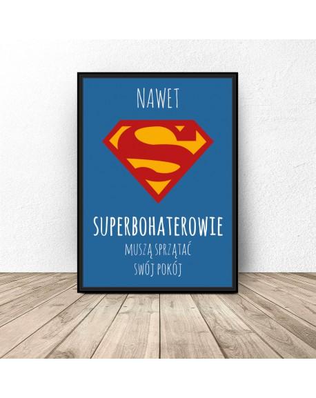"""Plakat motywacyjny dla dziecka """"Superbohaterowie sprzątają"""""""