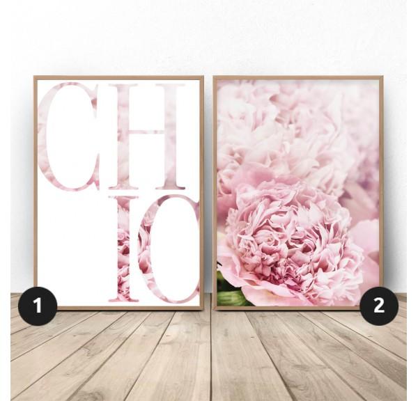 Zestaw dwóch plakatów glamour w różu