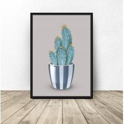 "Plakat ""Kaktus"" na szarym tle"