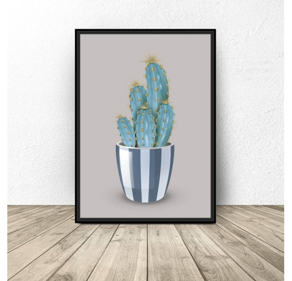 Plakat Kaktus na szarym tle