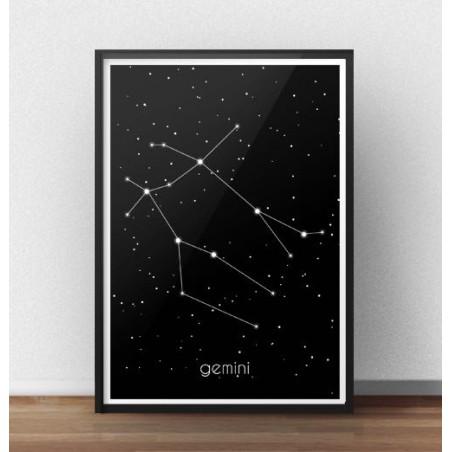 Plakat ze znakiem zodiaku Bliźnięta II