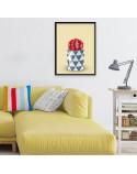 Plakat Czerwony kaktus na żółtym tle 3