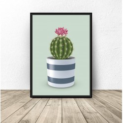 "Plakat ""Kaktus"" na seledynowym tle"