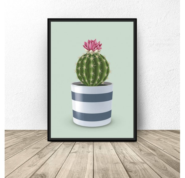 Plakat Kaktus na seledynowym tle