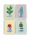 Zestaw 4 plakatów z kaktusami