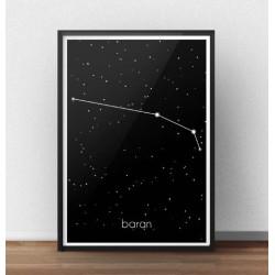 Czarny plakat z gwiazdozbiorem i znakiem zodiaku Barana z podpisem w języku polskim
