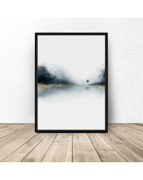 "Plakat abstrakcyjny ""Las nad jeziorem"""
