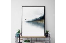 Abstrakcyjny plakat przedstawiający las nad jeziorem