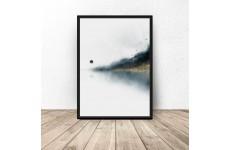 Dekoracyjny plakat w abstrakcyjnym stylu przedstawiający jezioro nad lasem