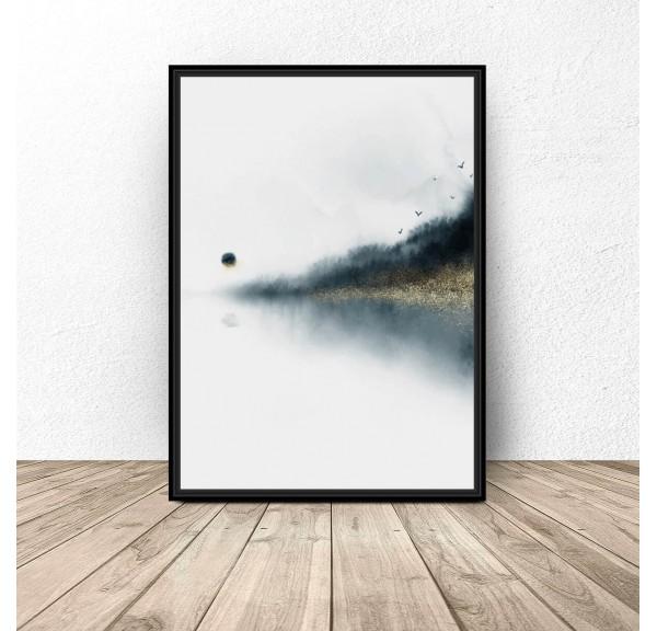 Plakat abstrakcyjny Jezioro pod lasem