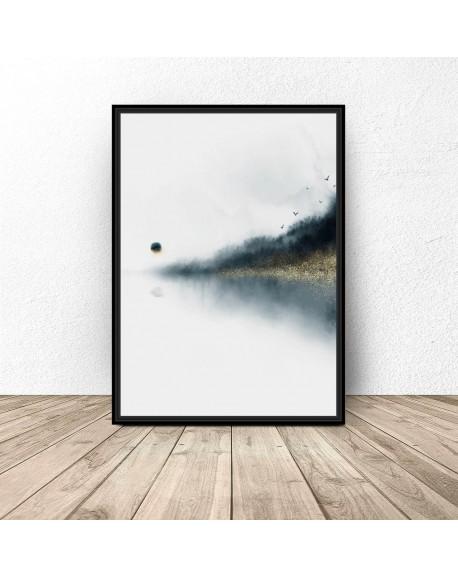 "Plakat abstrakcyjny ""Jezioro pod lasem"""