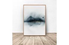 Plakat w stylu abstrakcyjnym przedstawiający mglisty las