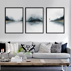Zestaw trzech plakatów abstrakcyjnych z lasem