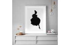 Plakat z sylwetką kobiety ubraną w suknię z piór