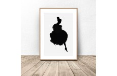 Plakat z kształtem kobiety ubraną w suknię z piór