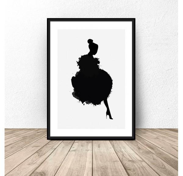 Skandynawski plakat z kobietą w piórach